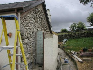 Stonework Exposed on House Gable End