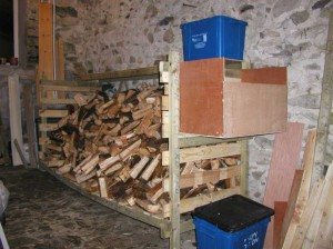 Logs In the Rack with Kindling Box