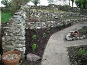 New Border by Terraces. Bark Mulch to Suppress Weeds