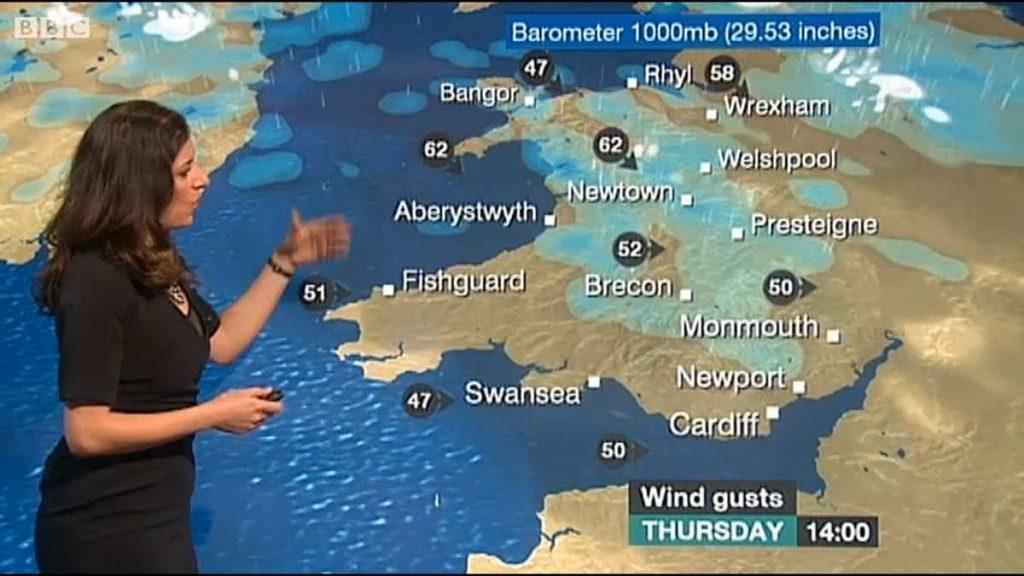 BBC Weather Showing Storm Doris