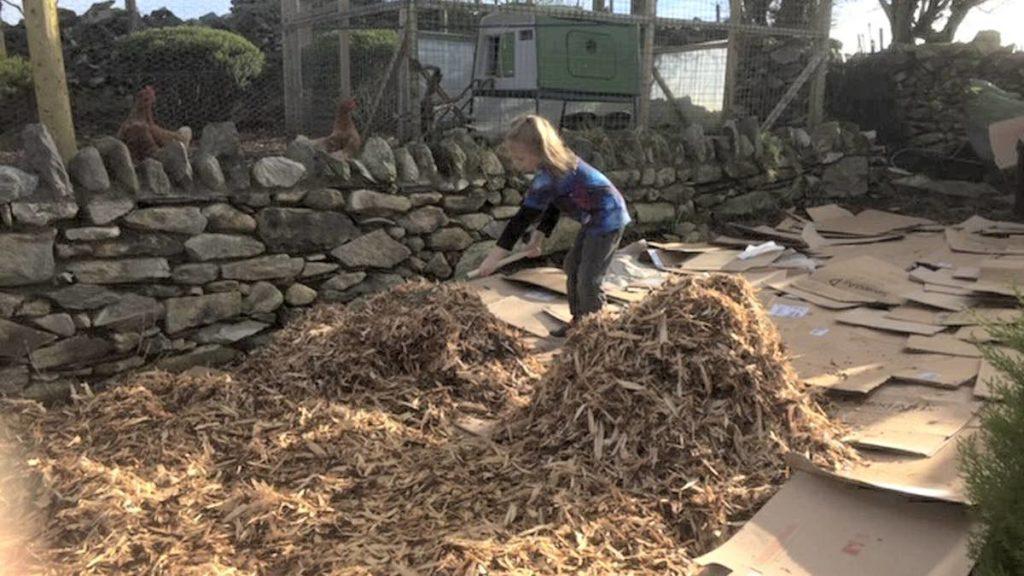 Raking Wood Chips