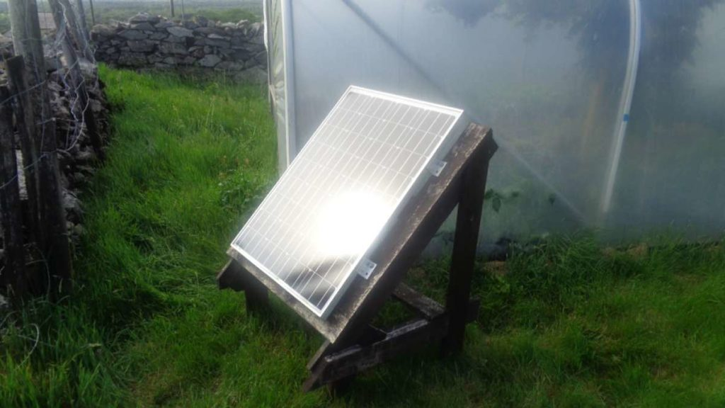 80 watt solar panel fixed to frame