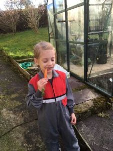 Grandson Eating a Carrot