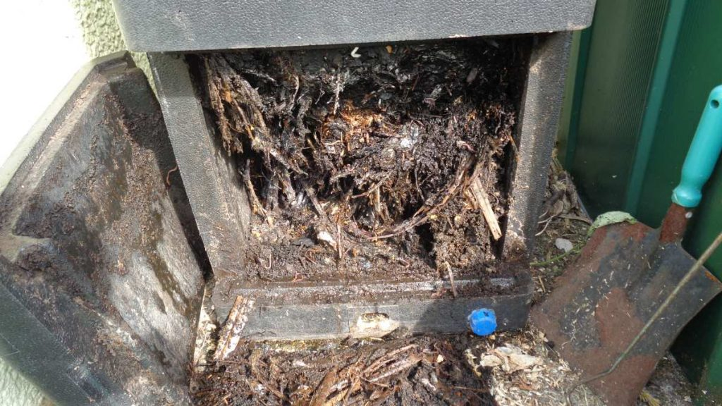 Compost in base of Hotbin composter