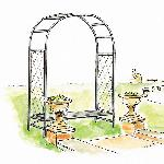 Roman Half Lattice Standard Garden Arch and Bench Seat
