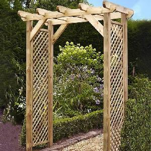 Squared Lattice Wooden Garden Arch